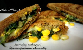 Cheesy Spinach And Corn Sandwich - Plattershare - Recipes, Food Stories And Food Enthusiasts