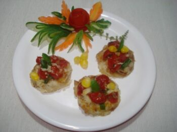 Paneer Billini Topped With Cherry Tomato Relish(Mini Pan Cakes ) - Plattershare - Recipes, Food Stories And Food Enthusiasts