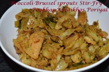 Broccoli And Brussel Sprouts Stir-Fry / Pookhos Kalaikhos Poriyal - Plattershare - Recipes, Food Stories And Food Enthusiasts