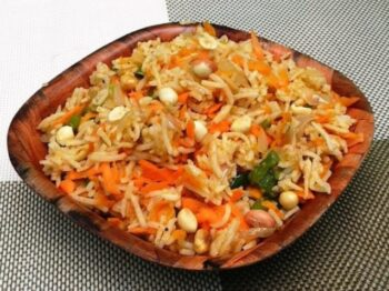 Carrot Peanut Pulao - Plattershare - Recipes, Food Stories And Food Enthusiasts