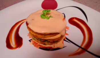 Veg Semolina Pan Cake With Creamy Mayonnaise - Plattershare - Recipes, Food Stories And Food Enthusiasts