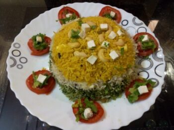 Tri Color Pulao With Nuts And Paneer - Plattershare - Recipes, Food Stories And Food Enthusiasts