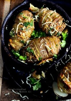 Hasselback Potatoes With Honey &Amp; Cheddar Cheese - Plattershare - Recipes, Food Stories And Food Enthusiasts
