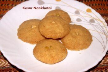 Kesar Nankhatai Biscuit Or Kesar Flavoured Nankhatai Cookies - Plattershare - Recipes, Food Stories And Food Enthusiasts